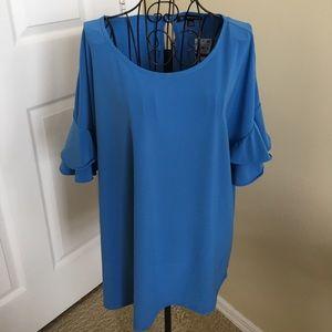 INC international Blue top with flouncy sleeves.